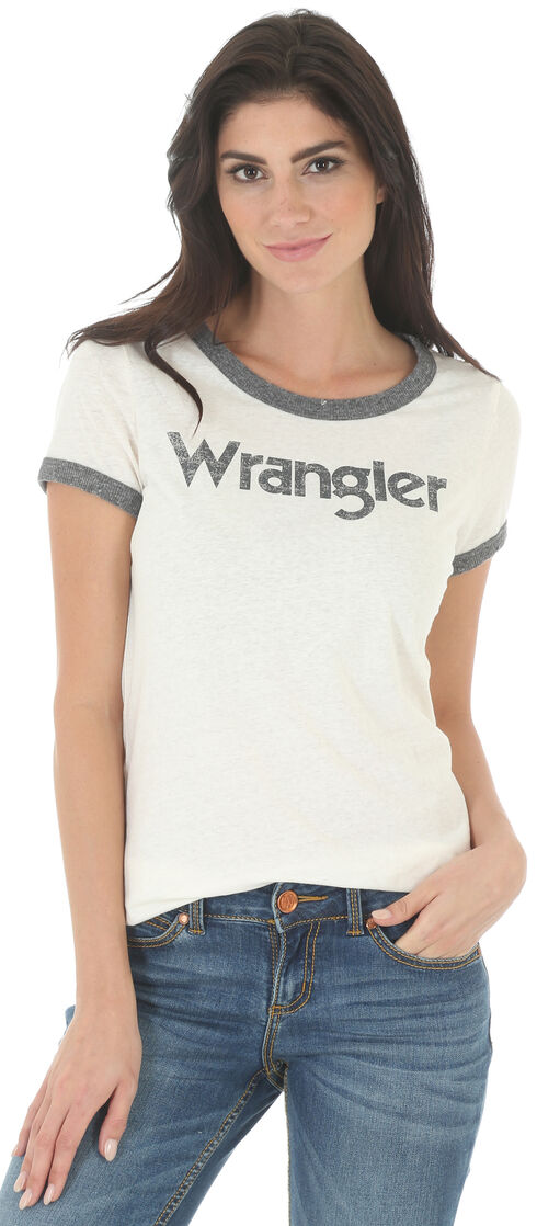 Wrangler Women's White and Grey Ringer T-Shirt , White, hi-res