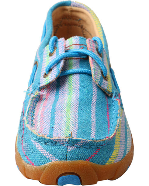 Twisted X Women's Blue Multi-Colored Canvas Driving Moccasin - Moc Toe, Blue, hi-res