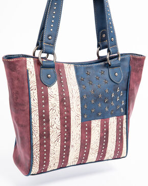 Shyanne Women's Old Glory Flag Tote, Burgundy, hi-res