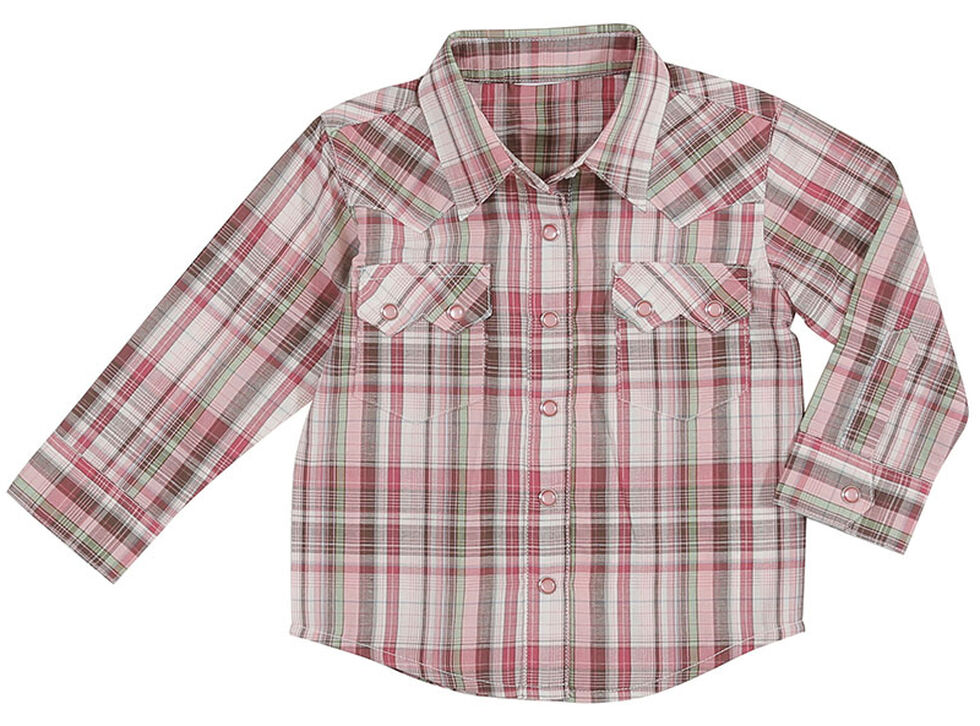 Wrangler Toddler Girls' Pink 2 Pocket Plaid Shirt , Pink, hi-res