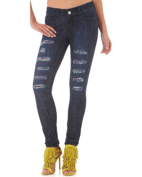 Wrangler Women's Destructed Dark Skinny Jeans, Indigo, hi-res