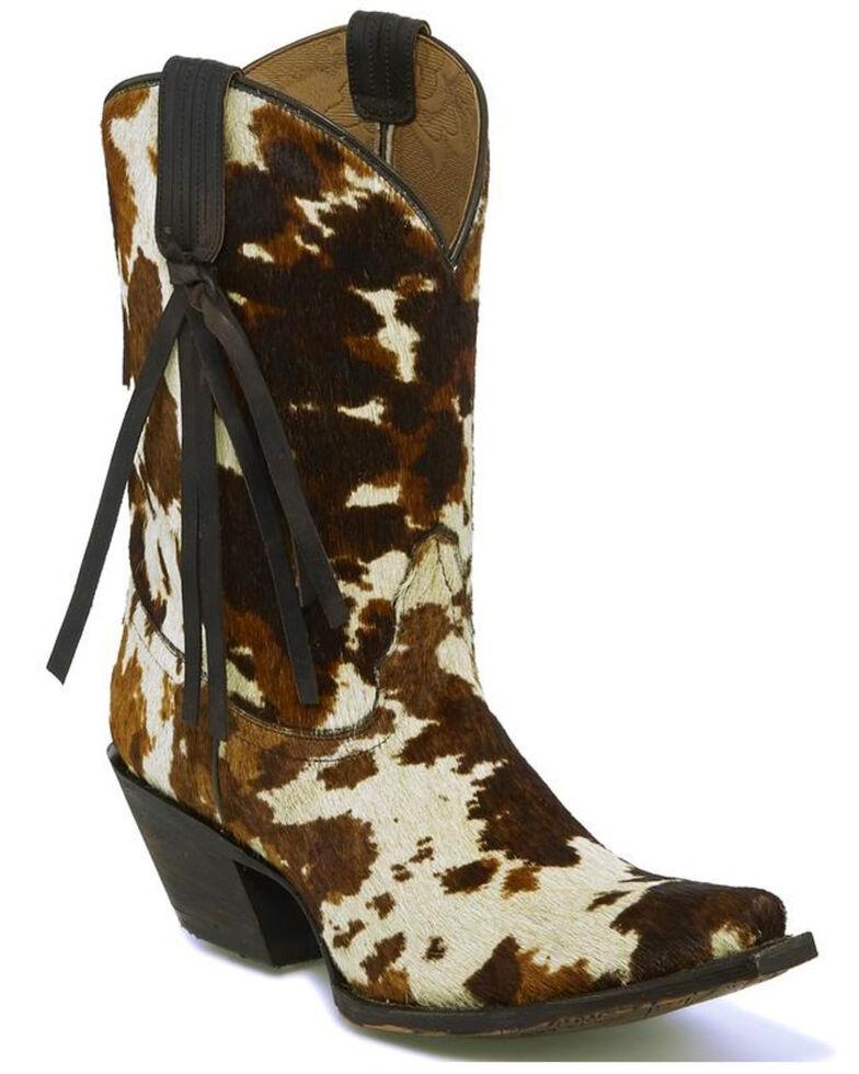 Tony Lama Women's Tri-Color Hair On Calf Cowgirl Boots - Snip Toe, Multi, hi-res