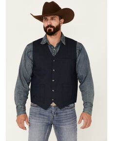 Moonshine Spirit Men's Saloon Textured Solid Button-Down Western Vest , Black, hi-res