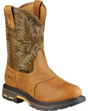 Ariat Brown H20 Workhog Work Boots - Composite Toe, Aged Bark, hi-res