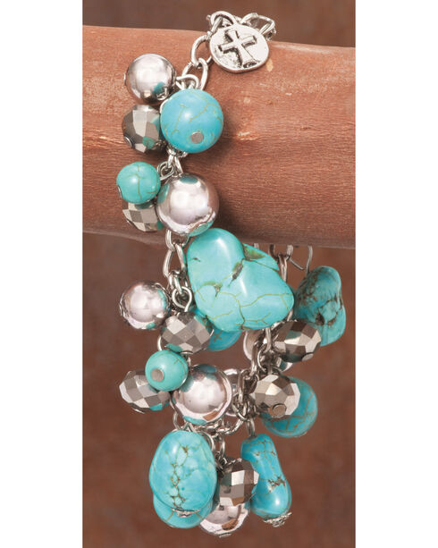 West & Co. Women's Burnished Silver Turquoise Bead Chain Bracelet, Silver, hi-res