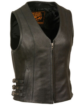Milwaukee Leather Women's V Neck Zipper Front Side Buckle Vest, Black, hi-res