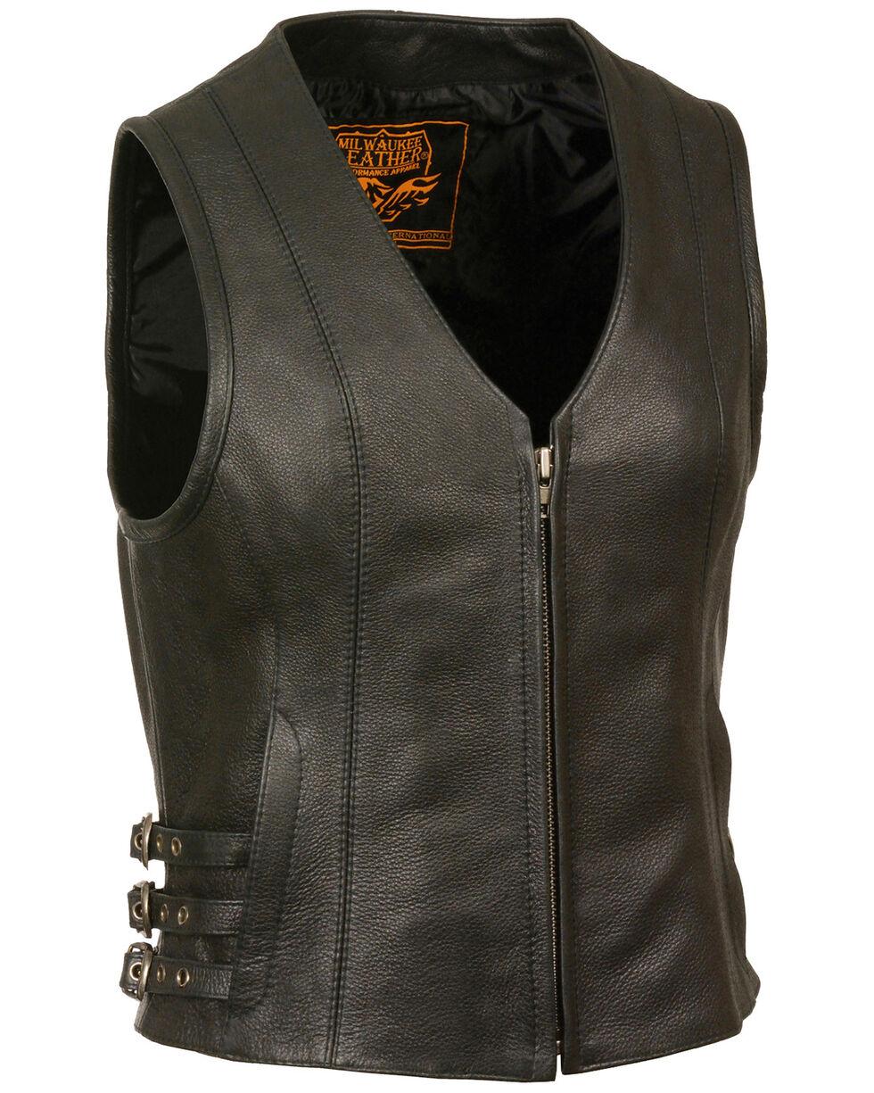 Milwaukee Leather Women's V Neck Zipper Front Side Buckle Vest, Black, hi-res
