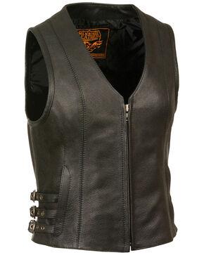 Milwaukee Leather Women's V Neck Zipper Front Side Buckle Vest - 5X, Black, hi-res