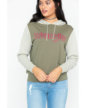Wrangler Women's Modern Raglan Logo Hoodie, Olive, hi-res