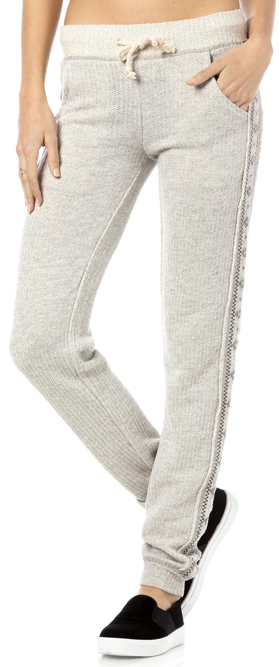 Miss Me Women's Aztec Sweater Knit Joggers, Hthr Grey, hi-res