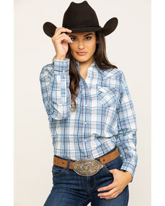 As Real As Wrangler Women's Blue & White Snap Long Sleeve Western Shirt , Blue, hi-res