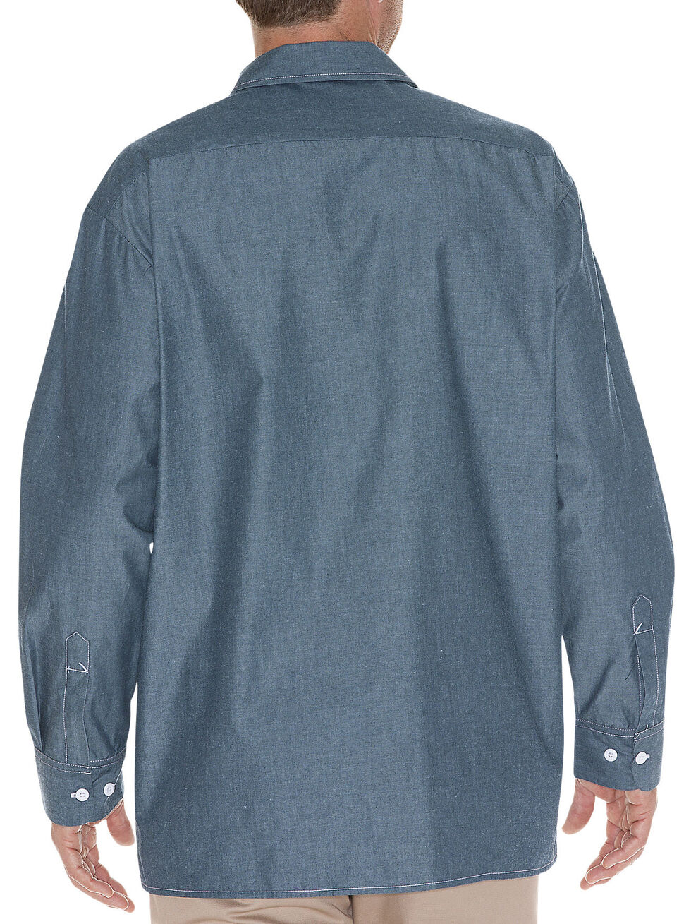 Dickies Relaxed Fit Chambray Long Sleeve Shirt, Blue, hi-res