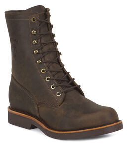 "Chippewa Classic 8"" Lace-Up Work Boots - Round Toe, Chocolate, hi-res"