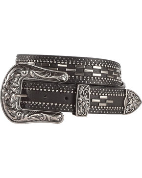 Shyanne Women's Studded Dashed Belt - Black, Black, hi-res