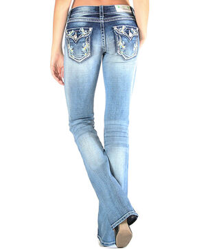 Grace in LA Women's Floral Embroidered Jeans - Boot Cut , Light/pastel Blue, hi-res