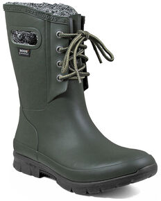 Bogs Women's Green Amanda Plush Insulated Work Boots - Round Toe, Dark Green, hi-res