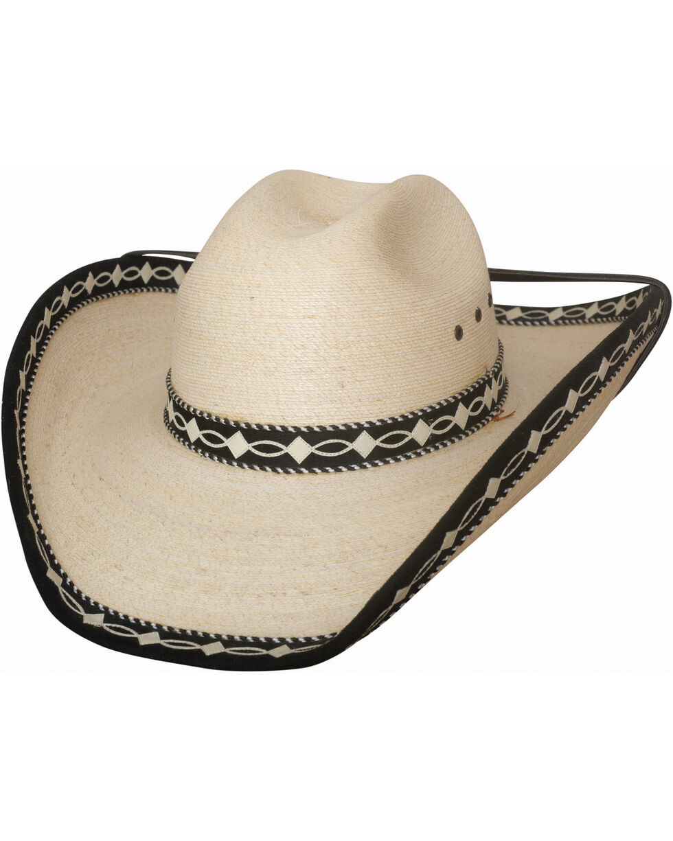 Bullhide Custom Made Palm Leaf Straw Cowboy Hat , Natural, hi-res
