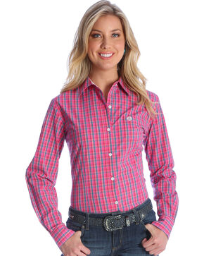 Wrangler Women's Pink George Strait Core Plaid Shirt , Pink, hi-res