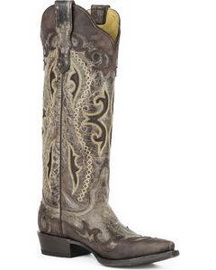 Stetson Women's Vivi Brown Wingtip with Underlays Western Boots - Snip Toe , Brown, hi-res