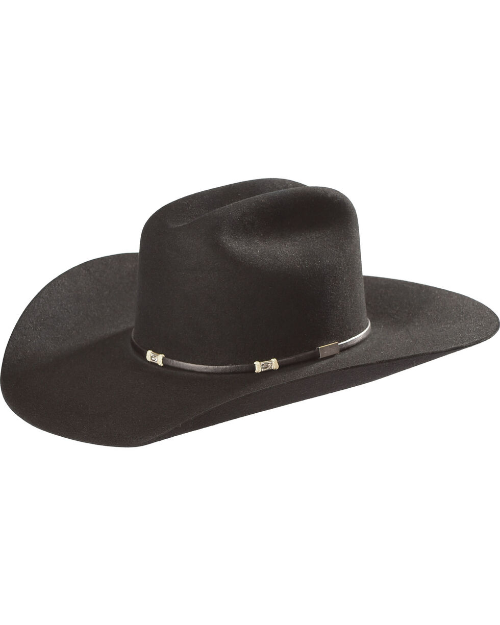 Resistol Men's Black Double Hock 6X Felt Cowboy Hat , Black, hi-res