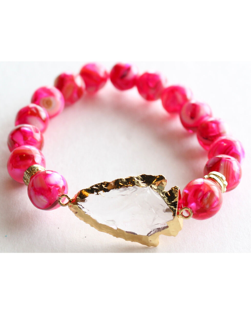 Everlasting Joy Jewelry Women's Flush Rose Arrowhead Bracelet , Bright Pink, hi-res