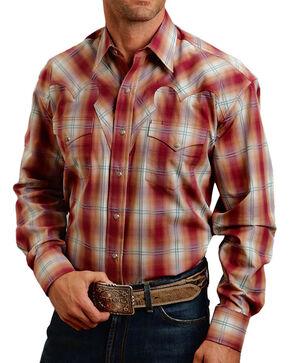 Stetson Men's Red Fire Plaid Long Sleeve Shirt, Rust Copper, hi-res