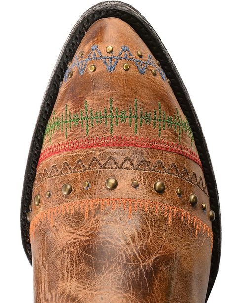 Old Gringo Yippee Ki Yay Line Stitched & Studded Cowgirl Boots - Medium Toe, Brown, hi-res