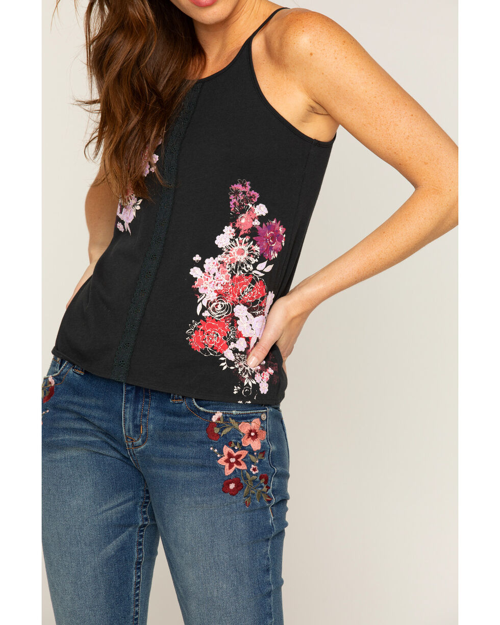 Shyanne Women's Floral Center Lace Racerback Tank, Black, hi-res