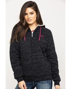 Ariat Women's Marbled Fleece Zip Up Hoodie, Black, hi-res