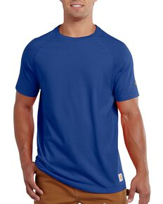 Carhartt Men's Force Raglan Short Sleeve Work T-Shirt , Blue, hi-res
