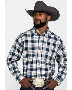 Ariat Men's Ellington Performance Flannel Long Sleeve Western Shirt , White, hi-res