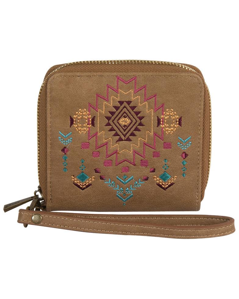 Catchfly Women's Kristan Aztec Wristlet Wallet, Brown, hi-res