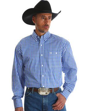 Wrangler Men's Blue Checkered George Strait Long Sleeve Shirt , Blue, hi-res