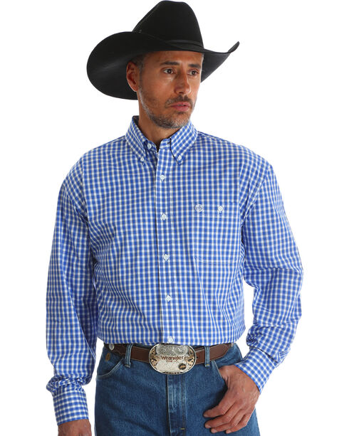 Wrangler Men's Blue Checkered George Strait Long Sleeve Shirt , Blue, hi-res