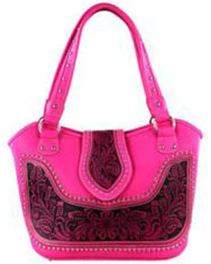 Montana West Women's Hot Pink Tooled Concealed Carry Handbag, Hot Pink, hi-res