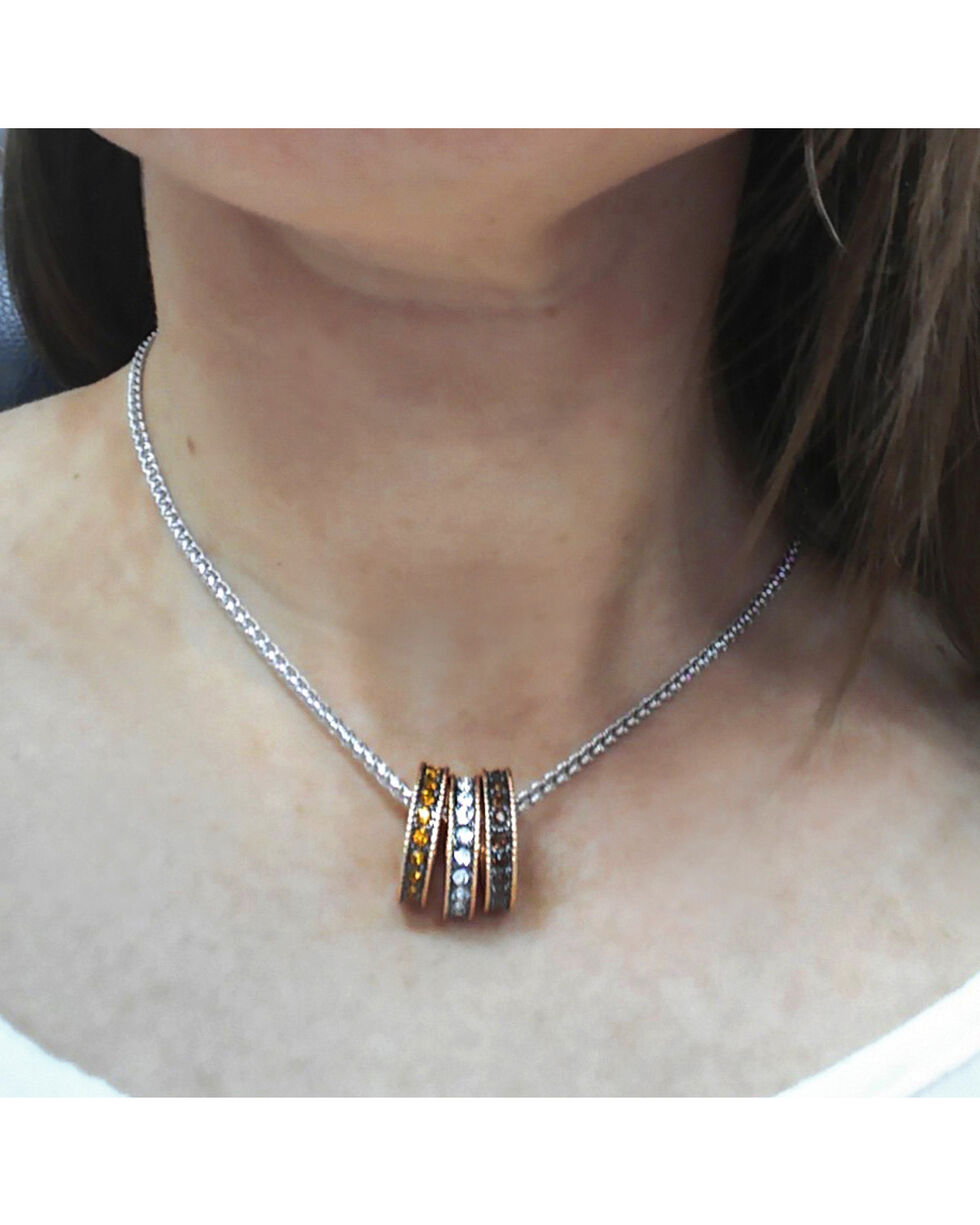 Montana Silversmiths Women's Sunset Lights Triple Ring Necklace , Silver, hi-res