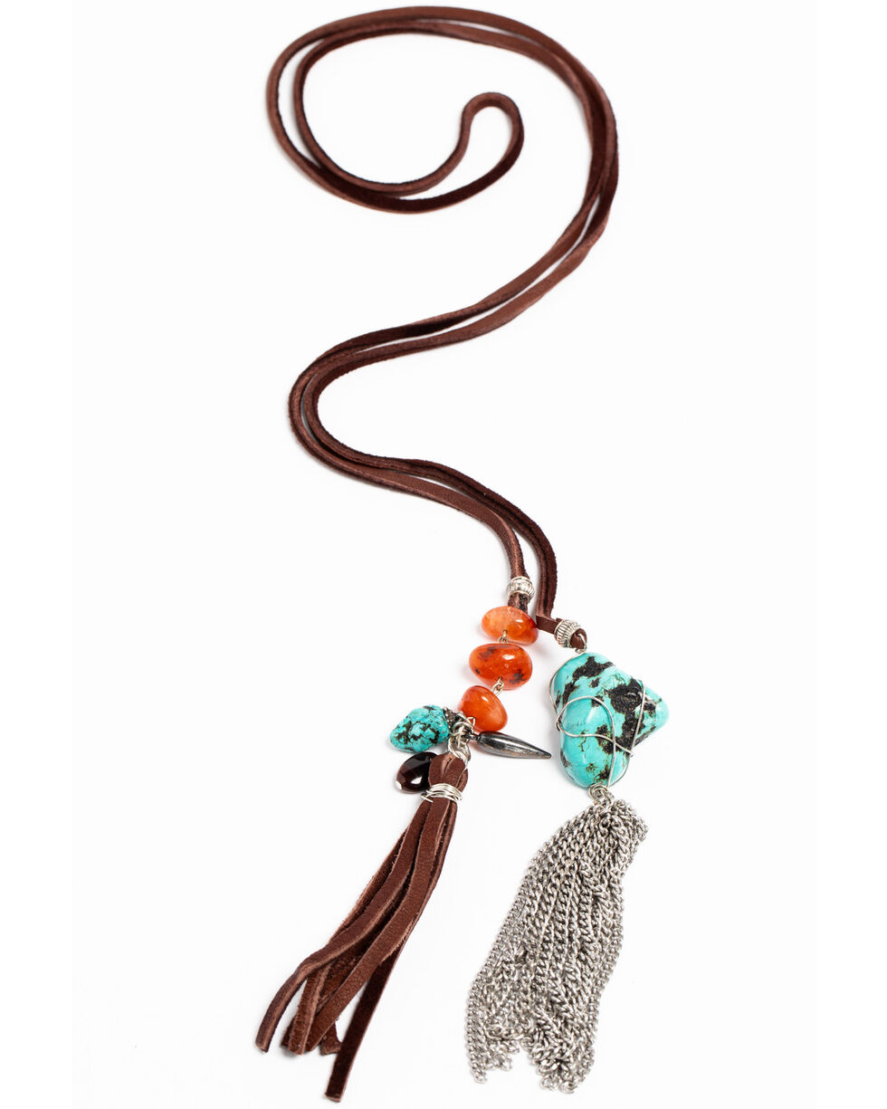 AndWest Women's Nighttail Tassel Necklace , Brown, hi-res