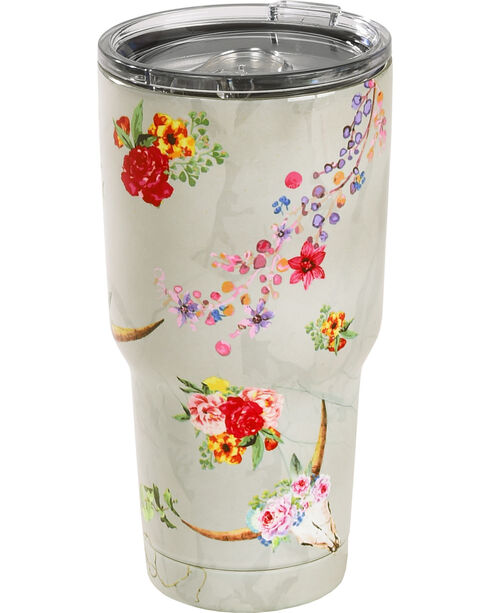 BB Ranch Floral Longhorn Stainless Steel Tumbler, No Color, hi-res