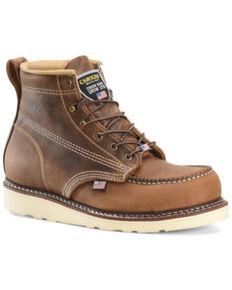 """Carolina Men's 6"""" Domestic AMP USA Wedge Work Boot - Moc Toe , Brown, hi-res"""