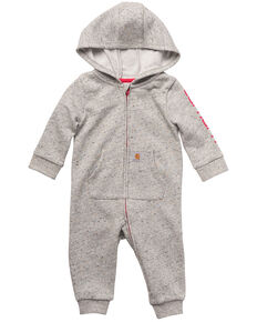 Carhartt Infant Girls' Grey Zip Front Hooded Coverall, Grey, hi-res