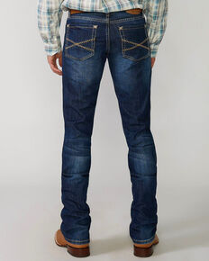 "Stetson Men's Rock Fit Barbwire ""X"" Stitched Boot Jeans - Big & Tall, Med Wash, hi-res"