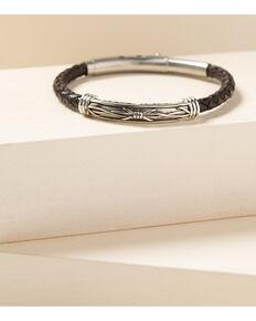 Moonshine Spirit Men's Barbed Wire Roped Leather Bracelet, Silver, hi-res