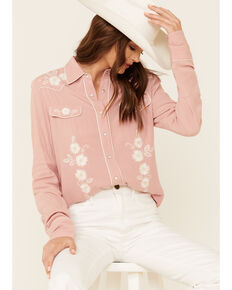 Stetson Women's Pink Rayon Crepe Embroidered Long Sleeve Snap Western Shirt , Pink, hi-res