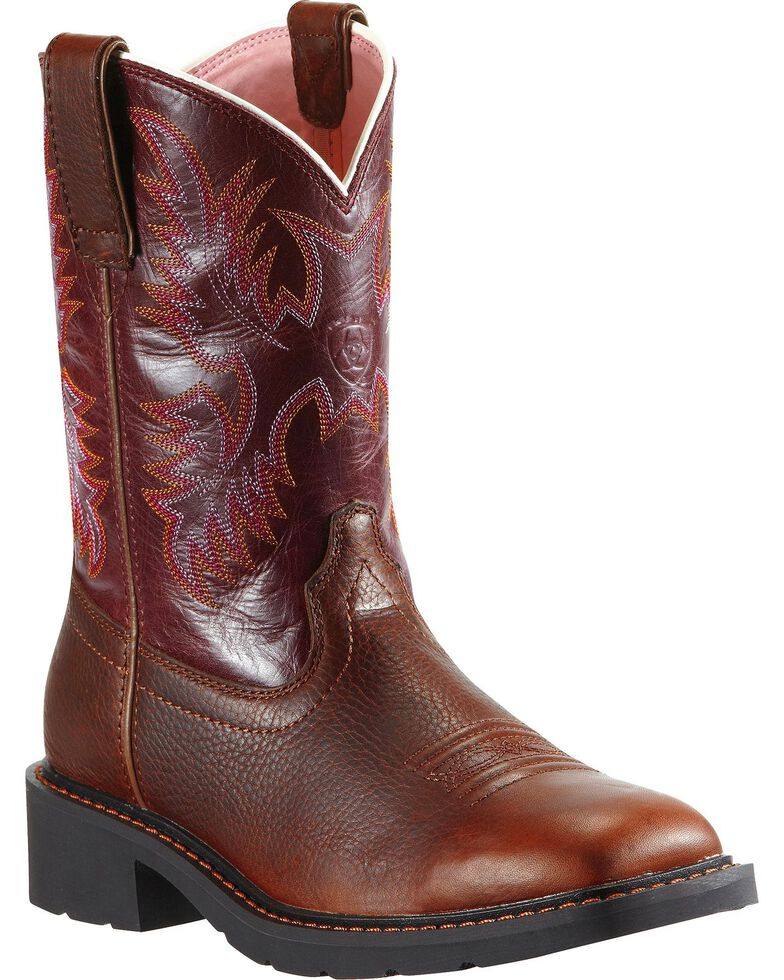 Ariat Krista Pull-On Work Boots - Steel Toe, Dark Brown, hi-res