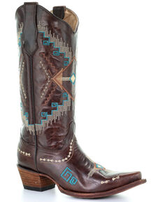 Corral Women's Turquoise Ethnic Embroidered Leather Western Boots - Snip Toe , Brown, hi-res