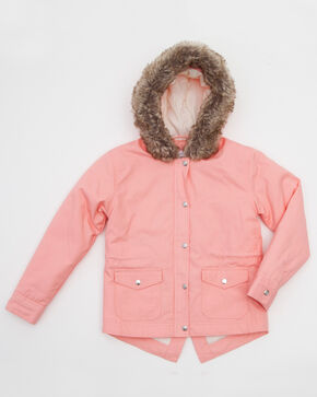 Shyanne Girls' Faux Fur Trim Anorak Jacket, Pink, hi-res