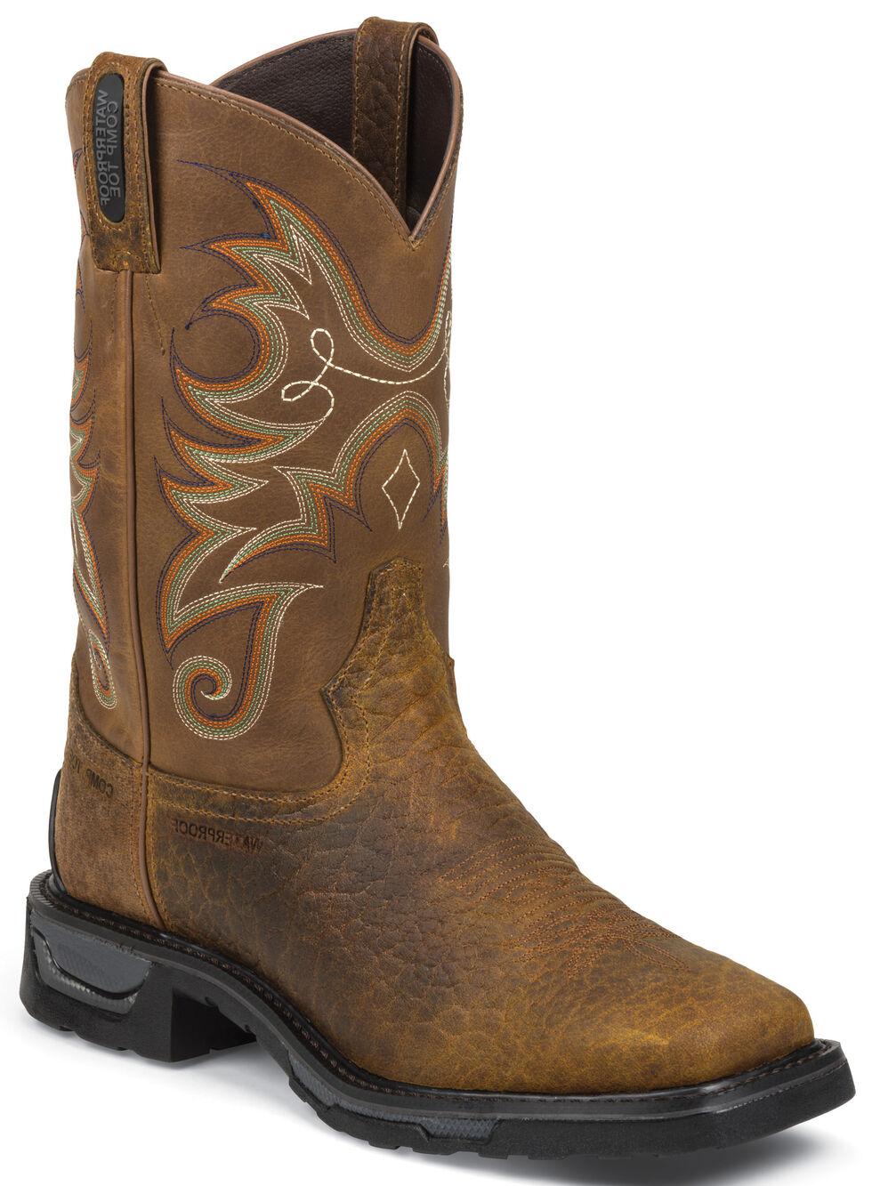 Tony Lama Sierra Badlands TLX Western Waterproof Work Boots - Comp Toe , Brown, hi-res
