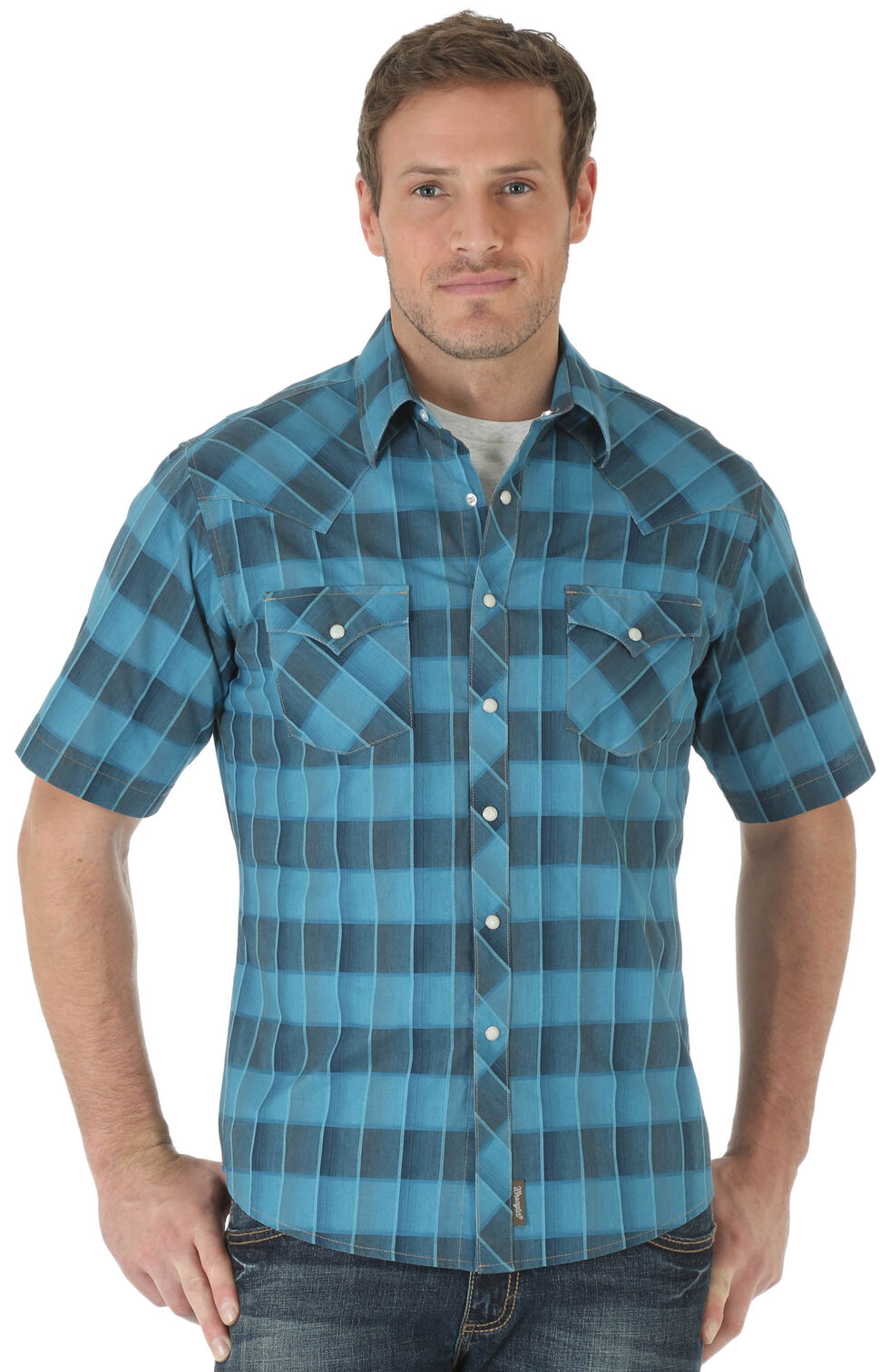 Wrangler Retro Men's Short Sleeve Blue Checkered Shirt, Blue, hi-res