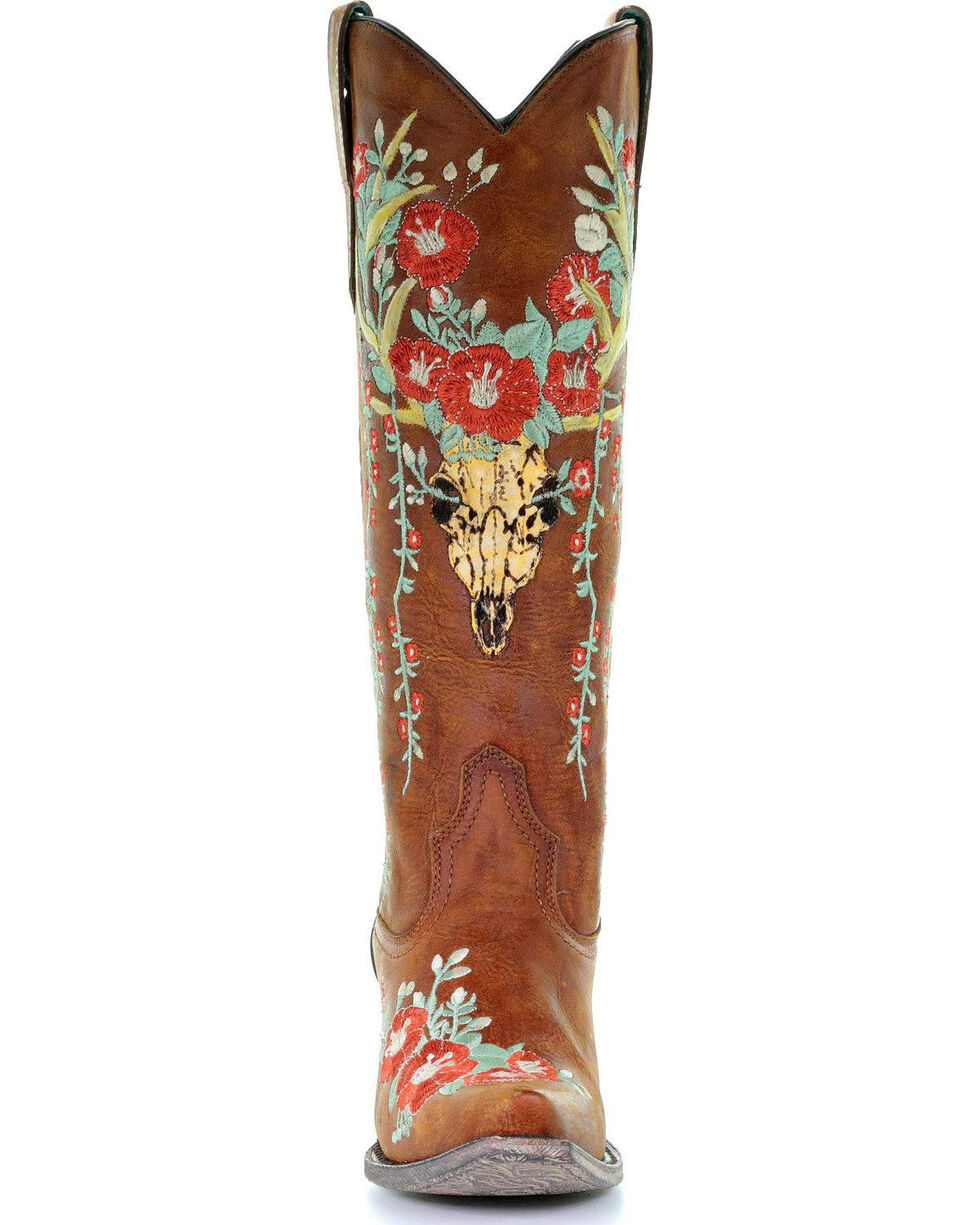 Corral Women's Deer Skull & Floral Embroidery Cowgirl Boots - Snip Toe, Tan, hi-res