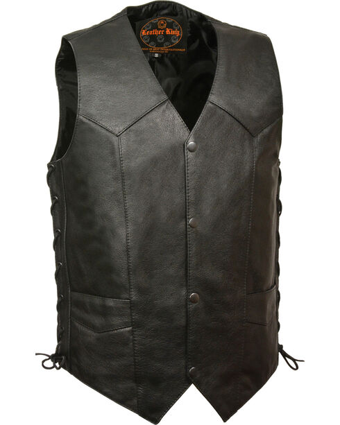 Milwaukee Leather Men's Classic Side Lace Vest w/ Gun Pockets , Black, hi-res